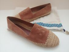 Tory Burch Arianne Tan Brown Suede Espadrille Flats Slip On Shoes Size 8M NWOB