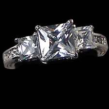 PRINCESS CUT_3-STONE_CLEAR CZ ENGAGEMENT RING__ SZ-5__925 STERLING SILVER - NF