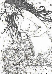 Originale Akt Zeichnung 203RM Bleistift  Frauenakt Kunst Art Kunst nude pencil