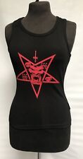 Gothic Steampunk Black Vest With Red Devil Print One Size