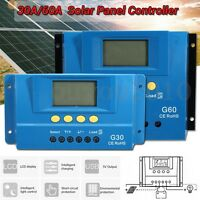 30A/60A 12V/24V PWM LCD Auto Solar Panel Controller Battery Charger Regulator