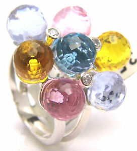 Ring Round Multicolored Faceted Stones, CZ 925 Sterling Silver