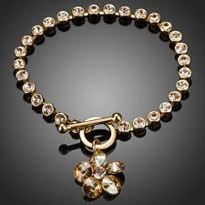 18K Gold GP Made With Swarovski Crystal Elements Flower Vintage Bangle Bracelet