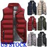 USA Men's Hooded Puffy Puffer Sleeveless Jacket Winter Thick Vest Quilted Jacket