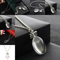 Make A Wish Glass Oval Dandelion Seed Pendant Necklace Jewelry Silver Chain Gift