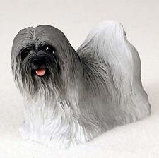 Lhasa Apso Hand Painted Dog Figurine Statue Gray