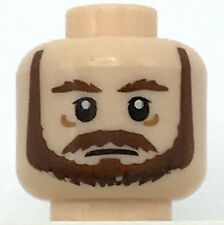 LEGO NEW LIGHT FLESH MINIFIGURE HEAD BROWN BEARD MALE MAN PIECE