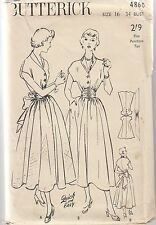 "Easy UNCUT Vintage 1950s FULL SKIRT DRESS Sewing Pattern Sz 34"" Butterick #4860"