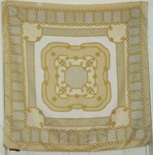 "TERRIART Gold-Beige, Gold Ropes, Dots Border Print 34"" Sq Scarf-Vintage Tie Rack"