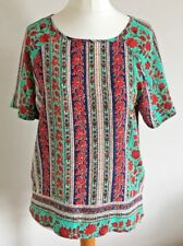 Papaya Size 8 Ladies Short Sleeve Green & Blue Top With Red Floral Print