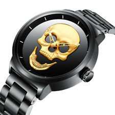 BIDEN Watches Men Quartz Punk Luxury 3D Skull  Stainless Steel 30m Waterproof