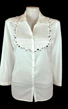 NWT My Size Top White Button Cotton Shirt Pleated Beaded Diamante RRP$99 S/16/18