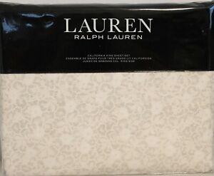 Ralph Lauren California King Sheet Set Allaire Floral 4pc Cottage Modern White