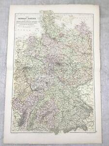 1882 Antique Map of Germany The German Empire Bavaria Original 19th Century