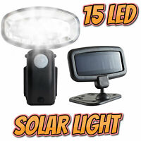 15 LED Garden Solar Power Light Rechargeable PIR Motion Sensor Security Shed