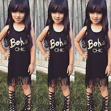 Tolles Fransen Mädchen Kleid Boho Gr. 110  schwarz Sommer