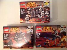 3 New LEGO Lego Star Wars Sets 75078 75079 75089 with 12 Star Wars Mini Figures