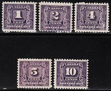 Canada Postage Dues, Scott J6-J10, F to VF MH, catalogue - $204