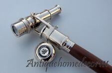 Wooden Nautical Walking Stick Cane Brass Telescope On Handle Full Long Size