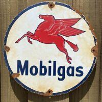 VINTAGE MOBIL PORCELAIN SIGN MOBILGAS PEGASUS OIL GAS STATION METAL PETROLIANA