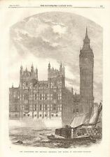 1857 ANTIQUE PRINT-CLOCK TOWER AND SPEAKER'S RESIDENCE, NEW HOUSES OF PARLIAMENT