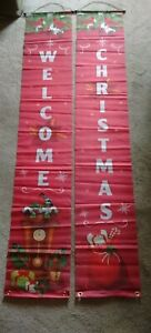 """2 Banner Flags Christmas & Welcome 12""""x72"""" Cardinals, Candy Canes, Presents Logo"""