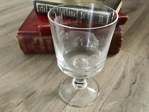 Vintage English Diamond Stipple Engraved Church Wedding Goblet Glass A Morrice