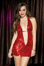 Very Sexy! Deep Keyhole Front Sequined Halter Dress! One Size!