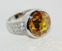 Beautiful Sterling Silver Gemstone 11.85 CT Faceted Citrine CZ Accent Ring Sz 8