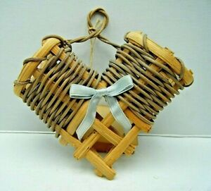 Collectible Vintage Small Hand Woven Hanging Open Heart Basket Pockets