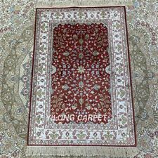 YILONG 2'x3' Handknotted Silk Area Rug Red All-Over Antistatic Carpet HF078B