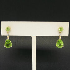 10k Yellow Gold 1.62ctw Pear & Round Peridot Dangle Earrings w/ Diamond Accents