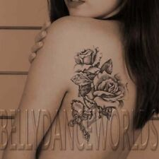 ROSE ROSES WITH CHRISTIAN CROSS TEMPORARY TATTOO SHOULDER RIP STICKER TATOUAGE