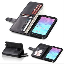 New 7 Card Holder Flip Wallet Leather Case Cover For Samsung Galaxy Note 4