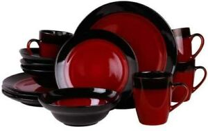 ELAMA TANIZIA 16-PIECE HIGH GLOSS DISH DINNERWARE SET in RED SERVICE for 4