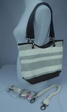 NWOT Thirty-One Canvas Crew Mini Taupe Straw Stripe + Additional Rope Strap 4876