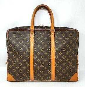 Louis Vuitton Porte Documents Voyage Monogram Canvas Leather Briefcase Hand Bag