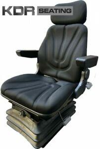 Tractor Air Suspension Seat - 12Volt Compressor - Fabric & Armrests - John Deere