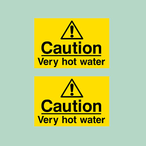 2x Caution Very Hot Water 75x50mm Plastic Sign/Sticker
