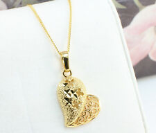 Filigree Heart Necklace Pendant in 18k Gold Plated, Gift Box
