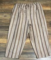 Duo Maternity Pants Linen Blend Cropped Pants Size Large