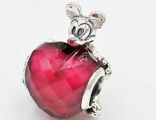 Genuine PANDORA Silver Disney Mickey Red Love Heart Charm 797168NFR