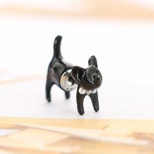 Cute 3D Black Kitty Cat Ear Stud Earrings Hot Selling Unique Punk Earrings 1Pair