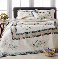 Martha Stewart Collection Embroidered Wreath QUEEN Bedspread Ivory - Navy New