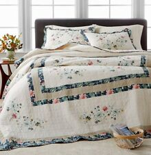 Martha Stewart Collection Embroidered Wreath QUEEN Bedspread Ivory - Navy New