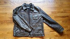 Lucky Brand Lucky Legend  Brown Leather Bomber Jacket    Full Zip