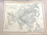 1861 Antik Map Of Asien Die Fern East Orient Hand- Farbig Gravur Johnston