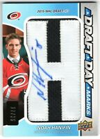 "NOAH HANIFIN 2015-16 SP Game Used DRAFT DAY MARKS Autograph ""H"" #17/35"