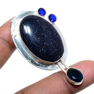 "Blue Sunstone & Sapphire 925 Sterling Silver Pendant Jewelry 2.09"" S1968"