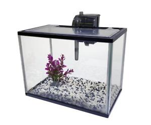 14L Aquarium Starter Kit Fish Tank Tropical Acrylic Goldfish with Gravel & Plant